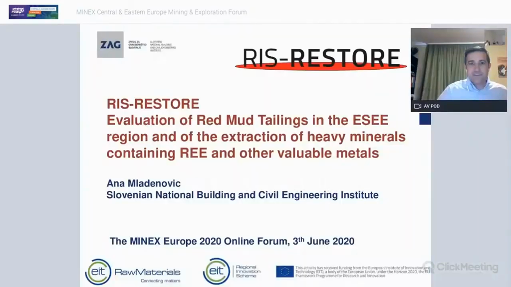 Evaluation of Red Mud Tailings in the ESEE region and of the extraction of heavy minerals containing REE and other valuable met
