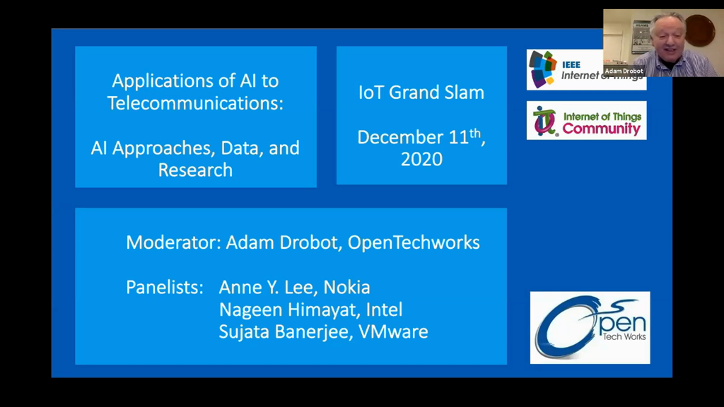 Panel – Applications of AI to Telecommunications; AI approaches, Data, and Research